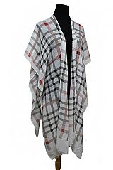 Checked Striped Design Sleeves Cardigan Style Kimono