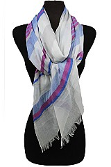 Stripy Soft Scarves with Fringe Ends