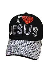 I Love Jesus Design Rhinestone and Bling Bling Studs Cotton Cap