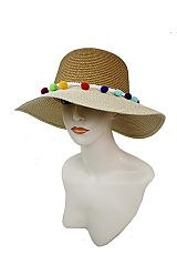 Two Tone Big Bucket Style Thick Toyo Straw With Loads Of Colorful Pom Pom Band Sun Hat