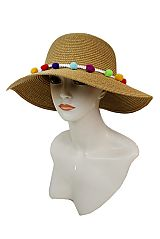 Plain Big Bucket Style Thick Toyo Straw With Loads Of Colorful Pom Pom Band Sun Hat