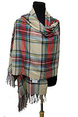 Plaid Colorful Cashmere Feel Wide and Long with Fringe scarf