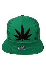 Marijuana Cannabis Leaf Embroidered with  Paisley Patterned Front and Back Printed Snap Back