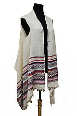Tribal Pattern Semi Sheer Sleeveless Pashmina Feel Super Softness Cardigan Style