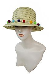 Bucket Style Neutral Colorful Pom Pom Banded Sunhat