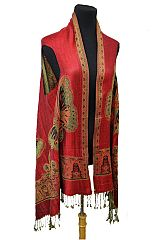 Butterfly Design Pashmina Made With Double Sided Color Feature Printed Fringed Pashmina Sleeveless V