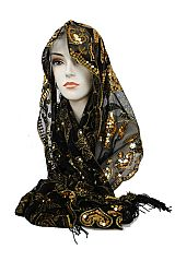 Two Ton Sequin Chiffon Soft Floral Detail Festive Scarves And Shawls
