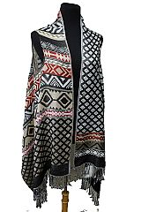 Diamond and Aztec Pattern Design Pashmina Made With Double Sided Color Feature Printed Fringed Sleev