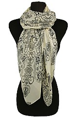 Chiffon Scarves with Swirls Pattern