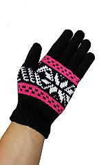 Two Tone Thick & Snowflake Patterned Unisex Winter Gloves