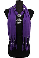 Rose Charm on Soft Jersey Feel Scarves with Beaded Fringe
