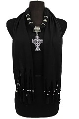Swirl Cross Charm Jersey Scarves With Beaded Fringe.