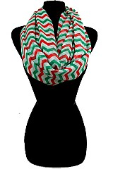 Three Tone Chevron Pattern Infinity Scarves