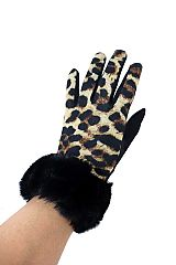 Faux Fur Detailed Leopared Printed  Winter Gloves