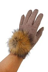 Wool feel Touch Grip Round Extra Soft fur Detailed Gloves