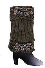Black Stone Flower and Gold Beads Leaves Patch Striped Knitted Leg Warmers