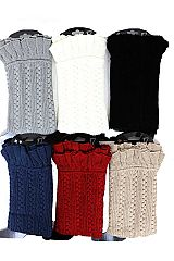 Ribbed Knit Pattern with Ruffly Trim Leg Warmers