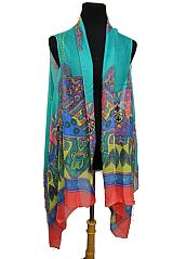 Mandala Color Pattern Semi Sheer Sleeveless Cardigan Style