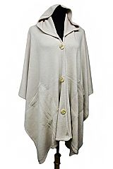 Plain Cardigan with Pocket and Button Design Spandex with Hooded