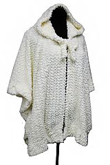 Hooded Velvet Fur Flower Pattern Shawl and Cardigan Ruffly Style