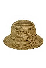 Scallop Trimmed Ribbed Feel LAdies Bucket Shape Sun Hat
