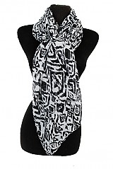 Over Sized Oblong Scribbled Line Print Softness Scarves