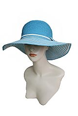 Summer In Stripe With Pretty Bow Mid Size Floppy Sun Hat