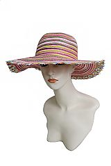 Rainbow Multiple Colored Sun Hat With Distressed Edging