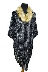Bubbly Knitted Super Softness Neckline Faux Fur Design with Fringe Poncho