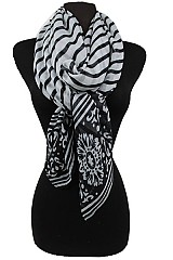 Stripe Pattern flower Scarf.