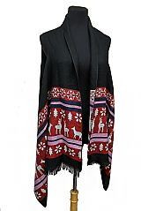 Deer And Snowflake Semi Sheer Sleeveless Fall and Winter Super Softness Acrylic Cardigan Style