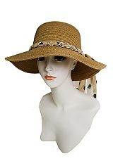 Bucket Fashion SunHat With Chain Band And Chiffon Polka Dot Ribbon