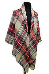 Large Over Sized Plaid Printed Blanket Scarf and Shawls