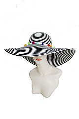 Infinite Stripe With Colorful Pom Pom Boho Accented Floppy Beach Sunhat
