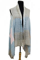 Frayed Color Block Grained Colo Dyed Crinkled Fashion Kimono Vest