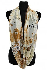 Silk feeling European Famous tourist attraction Design Super Softness Infinity Scarf
