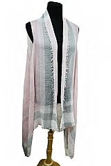 Frayed Color Plaid Pattern Grained Colo Dyed Crinkled Fashion Kimono Vest