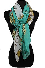 Soft and Silky Two Tone Floral Pattern Scarves