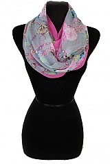 Silk Feeling Natural Pattern with Chain Design Softness Infinity Scarf
