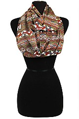 Digital Tribal Pattern Soft Chiffon Infinity Scarves