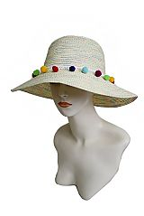 Rainbow Mixed Grosgrain Colorful Pom Pom Trimmed Bucket Sun Hat