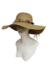 All Twist Brim Floppy with Natural Flower Trim Design Sun Hat