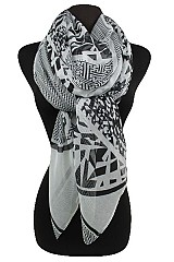 Two Tone Geometric Pattern Scarves