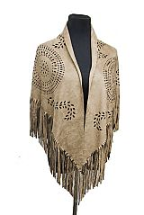 Boho Suede Fringed Cut Out Pattern Shawls