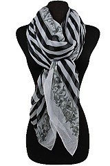 Striped And Floral Pattern Soft Scarves
