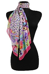 Leopard and Flower Pattern Chiffon softness Scarf
