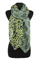 Leopard and geometric Pattern softness Scarf