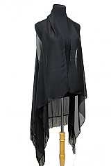 Semi Sheer Loose Kimono Cardigan Tasseled Sleeveless Top