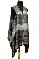 One With Nature Deer Patterned Silk Pashmina Semi Sheer Sleeveless Cardigan Style