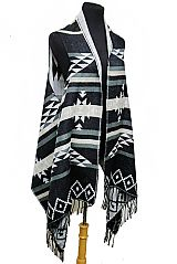 Aztec Pattern Semi Sheer Sleeveless Fall and Winter Super Softness Acrylic Cardigan Style